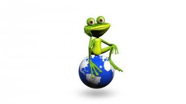 Frog on globe — 图库视频影像