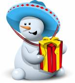Snowman in a sombrero with gift — Stock Vector