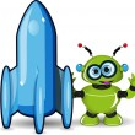 Green Robot and Rocket — Stock Vector #59064917