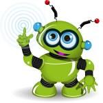Cheerful Green Robot — Stock Vector #59077681
