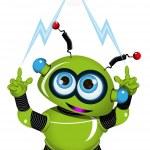 Green Robot and Lightning — Stock Vector #59363199