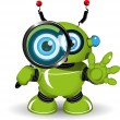 Robot with a Magnifying Glass — Stock Vector #61785471