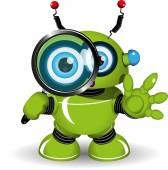 Robot with a Magnifying Glass — Stock Vector