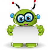 Green Robot And White Background — Vector de stock