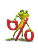 Frog and the Percent Sign — Stock Photo
