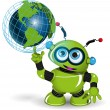 Robot and globe — Stock Vector #76459255