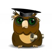 Owl scientist — Stock Vector