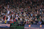 Fans and spectators on the stands — Stock Photo