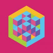 Hexagon shape with cubes inscribed. Vector illustration of 3d b — Stock Vector