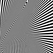 Pattern with optical illusion. Black and white background. — Stock Vector