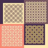 Zestaw czterech bez szwu wzorów. Vintage ornamenty geometryczne. — Wektor stockowy