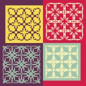 Set of four seamless patterns. Vintage geometric ornaments. — Stock Vector