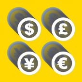 Vector dollar, euro, yen and pound icons. Signs set. — Stock Vector
