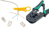 Crimping tool with a network cable isolated — Stock fotografie