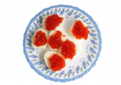 Eggs with red caviar — Stock Photo