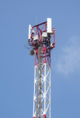 Tower with aerials of cellular — Stock Photo
