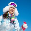 Woman on ski holiday in mountains — Stock Photo #52034317