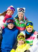 Company of friends on ski holiday  — Stock Photo
