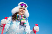 Woman on ski holiday in mountains — Stock Photo