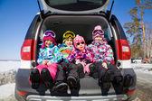 Children sitting in a car — Stock Photo