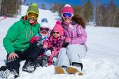 Family on ski resort — Zdjęcie stockowe