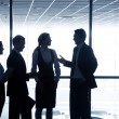 Silhouettes of businesspeople in business centre — Stock Photo #64981673
