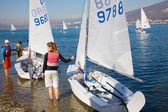 Competition of young sailors on the Regatta — Stock Photo