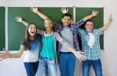 Group of young students having fun — Stock Photo
