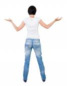 Standing woman Back view — Stock Photo