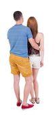 Embracing couple  hug and look — Stock Photo