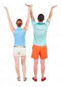 Couple with hands up — Stock Photo