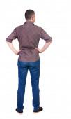 Pohled zezadu na pohledný muž v košili, vyhledávání. — Stock fotografie