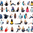 Collection back view of sitting people — Stock Photo #62406437