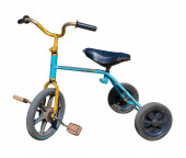 Old  tricycle children bicycle — Stock Photo