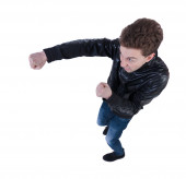 Guy fights waving arms and legs — Stock Photo