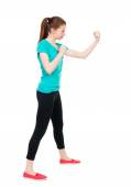 Woman fights waving his arms. — Stock Photo