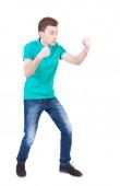Skinny guy funny fights — Stock Photo