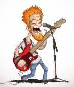 Singing rock guitarist — Stock Vector