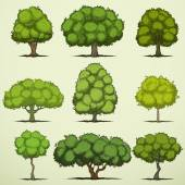 Set of cartoon deciduous trees — Vetor de Stock