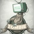 Media zombie with a tv instead of a head. Label — Stock Vector #71234691