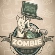 Media zombie with a laptop instead of a head. Label — Stock Vector #71234693