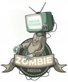 Media zombie with a tv instead of a head. Label isolated — Vettoriale Stock