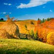 Autumn landscape in a mountain village — Stock Photo #62212817