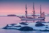Sailing ship in Antarctica — Stock Photo