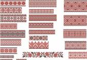 Patterns for Embroidery Stitch, Red and Black — Stok Vektör