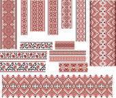 Set of Patterns for Embroidery Stitch. Red and Black — Stok Vektör