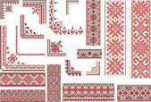 Red and Black Patterns for Embroidery Stitch — 图库矢量图片