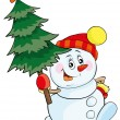 Snowman with tree — Stockvektor  #58287455