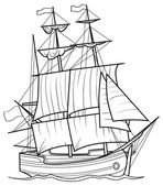 Sketch Yacht — Vettoriale Stock