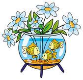Aquarium with flowers — Stock Vector